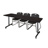 "84"" x 24"" Kobe Mobile Training Table- Mocha Walnut & 3 Zeng Stack Chairs- Black"