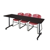 "84"" x 24"" Kobe Mobile Training Table- Mocha Walnut & 3 Zeng Stack Chairs- Burgundy"