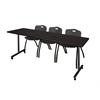"84"" x 24"" Kobe Mobile Training Table- Mocha Walnut & 3 'M' Stack Chairs- Black"