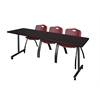 "84"" x 24"" Kobe Mobile Training Table- Mocha Walnut & 3 'M' Stack Chairs- Burgundy"