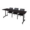"84"" x 24"" Kobe Mobile Training Table- Mocha Walnut & 3 Mario Stack Chairs- Black"
