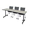 "84"" x 24"" Kobe Mobile Training Table- Maple & 3 Apprentice Chairs- Black"