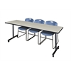 "84"" x 24"" Kobe Mobile Training Table- Maple & 3 Zeng Stack Chairs- Blue"