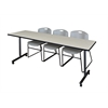 """84"""" x 24"""" Kobe Mobile Training Table- Maple & 3 Zeng Stack Chairs- Grey"""
