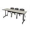 "84"" x 24"" Kobe Mobile Training Table- Maple & 3 'M' Stack Chairs- Black"
