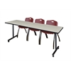 """84"""" x 24"""" Kobe Mobile Training Table- Maple & 3 'M' Stack Chairs- Burgundy"""