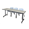 "84"" x 24"" Kobe Mobile Training Table- Maple & 3 'M' Stack Chairs- Grey"