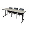 """84"""" x 24"""" Kobe Mobile Training Table- Maple & 3 Mario Stack Chairs- Black"""
