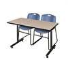 "42"" x 24"" Kobe Training Table- Beige & 2 Zeng Stack Chairs- Blue"