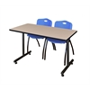 "42"" x 24"" Kobe Training Table- Beige & 2 'M' Stack Chairs- Blue"
