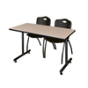 "42"" x 24"" Kobe Training Table- Beige & 2 'M' Stack Chairs- Black"