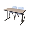 """42"""" x 24"""" Kobe Training Table- Beige & 2 'M' Stack Chairs- Grey"""