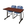 "42"" x 24"" Kobe Training Table- Cherry & 2 Zeng Stack Chairs- Blue"