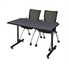"42"" x 24"" Kobe Training Table- Grey & 2 Apprentice Chairs- Black"