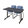 "42"" x 24"" Kobe Training Table- Grey & 2 Zeng Stack Chairs- Blue"
