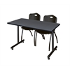 "42"" x 24"" Kobe Training Table- Grey & 2 'M' Stack Chairs- Black"
