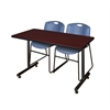 "42"" x 24"" Kobe Training Table- Mahogany & 2 Zeng Stack Chairs- Blue"