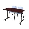 "42"" x 24"" Kobe Training Table- Mahogany & 2 'M' Stack Chairs- Grey"