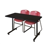 "42"" x 24"" Kobe Training Table- Mocha Walnut & 2 Zeng Stack Chairs- Burgundy"