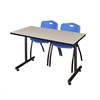 "42"" x 24"" Kobe Training Table- Maple & 2 'M' Stack Chairs- Blue"