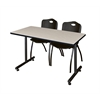 "42"" x 24"" Kobe Training Table- Maple & 2 'M' Stack Chairs- Black"