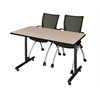 "48"" x 24"" Kobe Training Table- Beige & 2 Apprentice Chairs- Black"