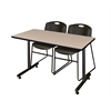 "48"" x 24"" Kobe Training Table- Beige & 2 Zeng Stack Chairs- Black"