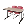 "48"" x 24"" Kobe Training Table- Beige & 2 Zeng Stack Chairs- Burgundy"