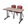 "48"" x 24"" Kobe Training Table- Beige & 2 'M' Stack Chairs- Burgundy"