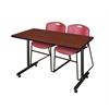 """48"""" x 24"""" Kobe Training Table- Cherry & 2 Zeng Stack Chairs- Burgundy"""