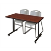 "48"" x 24"" Kobe Training Table- Cherry & 2 Zeng Stack Chairs- Grey"