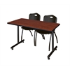 "48"" x 24"" Kobe Training Table- Cherry & 2 'M' Stack Chairs- Black"