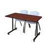 "48"" x 24"" Kobe Training Table- Cherry & 2 'M' Stack Chairs- Grey"