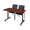 "48"" x 24"" Kobe Training Table- Cherry & 2 Mario Stack Chairs- Black"