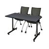 "48"" x 24"" Kobe Training Table- Grey & 2 Apprentice Chairs- Black"