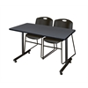 "48"" x 24"" Kobe Training Table- Grey & 2 Zeng Stack Chairs- Black"