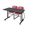 "48"" x 24"" Kobe Training Table- Grey & 2 Zeng Stack Chairs- Burgundy"