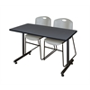 "48"" x 24"" Kobe Training Table- Grey & 2 Zeng Stack Chairs- Grey"