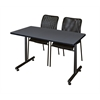 "48"" x 24"" Kobe Training Table- Grey & 2 Mario Stack Chairs- Black"