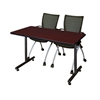 "48"" x 24"" Kobe Training Table- Mahogany & 2 Apprentice Chairs- Black"