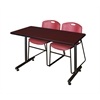 "48"" x 24"" Kobe Training Table- Mahogany & 2 Zeng Stack Chairs- Burgundy"