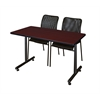 """48"""" x 24"""" Kobe Training Table- Mahogany & 2 Mario Stack Chairs- Black"""