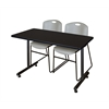 "48"" x 24"" Kobe Training Table- Mocha Walnut & 2 Zeng Stack Chairs- Grey"