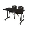 "48"" x 24"" Kobe Training Table- Mocha Walnut & 2 'M' Stack Chairs- Black"