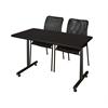"48"" x 24"" Kobe Training Table- Mocha Walnut & 2 Mario Stack Chairs- Black"