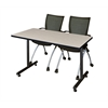 "48"" x 24"" Kobe Training Table- Maple & 2 Apprentice Chairs- Black"