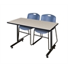 "48"" x 24"" Kobe Training Table- Maple & 2 Zeng Stack Chairs- Blue"