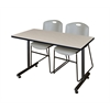 "48"" x 24"" Kobe Training Table- Maple & 2 Zeng Stack Chairs- Grey"