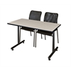 "48"" x 24"" Kobe Training Table- Maple & 2 Mario Stack Chairs- Black"
