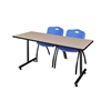 "60"" x 24"" Kobe Training Table- Beige & 2 'M' Stack Chairs- Blue"